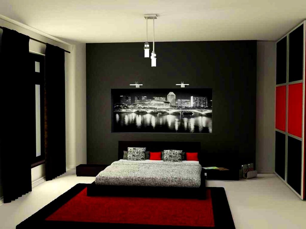 bedroom black red